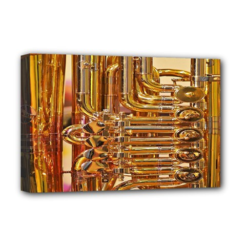 Tuba Valves Pipe Shiny Instrument Music Deluxe Canvas 18  x 12