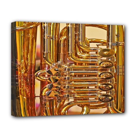 Tuba Valves Pipe Shiny Instrument Music Deluxe Canvas 20  X 16