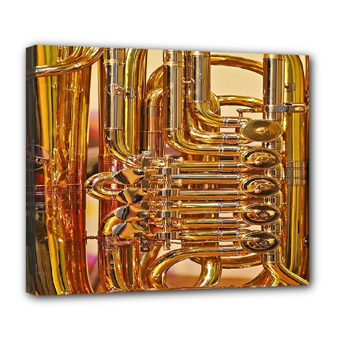 Tuba Valves Pipe Shiny Instrument Music Deluxe Canvas 24  X 20