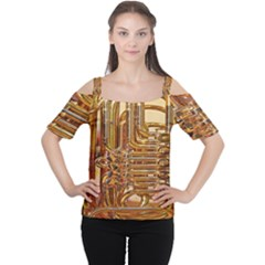 Tuba Valves Pipe Shiny Instrument Music Women s Cutout Shoulder Tee