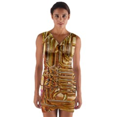 Tuba Valves Pipe Shiny Instrument Music Wrap Front Bodycon Dress