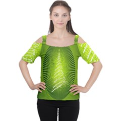 Vector Chirstmas Tree Design Women s Cutout Shoulder Tee
