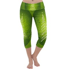 Vector Chirstmas Tree Design Capri Yoga Leggings