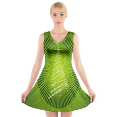 Vector Chirstmas Tree Design V Neck Sleeveless Skater Dress