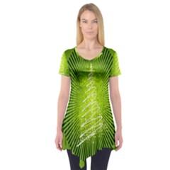 Vector Chirstmas Tree Design Short Sleeve Tunic
