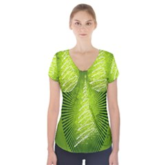 Vector Chirstmas Tree Design Short Sleeve Front Detail Top