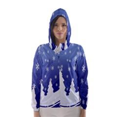 Vector Christmas Design Hooded Wind Breaker (Women)