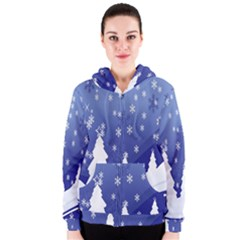 Vector Christmas Design Women s Zipper Hoodie