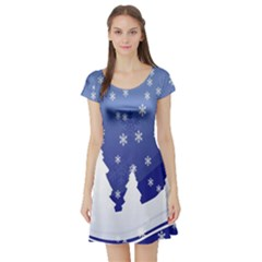 Vector Christmas Design Short Sleeve Skater Dress