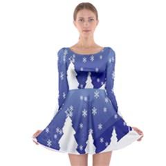 Vector Christmas Design Long Sleeve Skater Dress