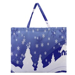 Vector Christmas Design Zipper Large Tote Bag