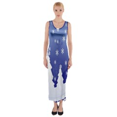 Vector Christmas Design Fitted Maxi Dress