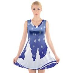 Vector Christmas Design V-Neck Sleeveless Skater Dress