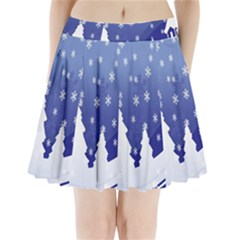 Vector Christmas Design Pleated Mini Skirt