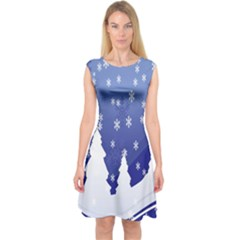 Vector Christmas Design Capsleeve Midi Dress