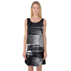 Urban Scene Street Road Busy Cars Sleeveless Satin Nightdress