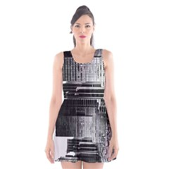 Urban Scene Street Road Busy Cars Scoop Neck Skater Dress
