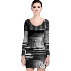 Urban Scene Street Road Busy Cars Long Sleeve Velvet Bodycon Dress