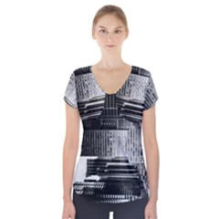 Urban Scene Street Road Busy Cars Short Sleeve Front Detail Top
