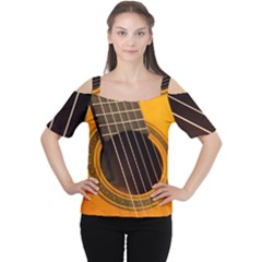 Vintage Guitar Acustic Women s Cutout Shoulder Tee