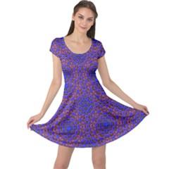 Tile Background Image Pattern Cap Sleeve Dresses