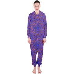 Tile Background Image Pattern Hooded Jumpsuit (Ladies)