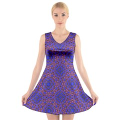 Tile Background Image Pattern V Neck Sleeveless Skater Dress