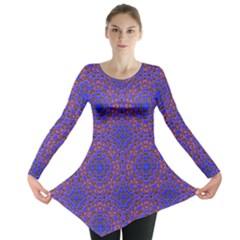 Tile Background Image Pattern Long Sleeve Tunic