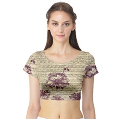 Vintage Music Sheet Song Musical Short Sleeve Crop Top (Tight Fit)