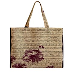 Vintage Music Sheet Song Musical Zipper Mini Tote Bag