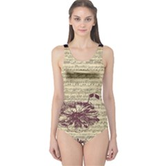 Vintage Music Sheet Song Musical One Piece Swimsuit