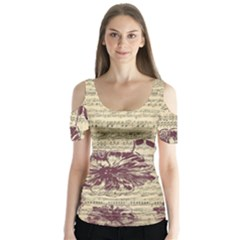 Vintage Music Sheet Song Musical Butterfly Sleeve Cutout Tee