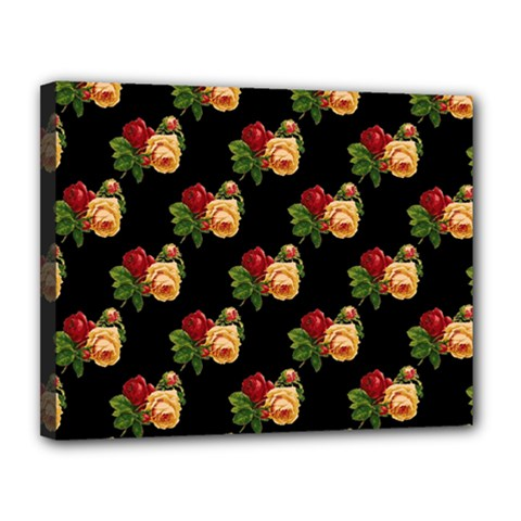 Vintage Roses Wallpaper Pattern Canvas 14  X 11