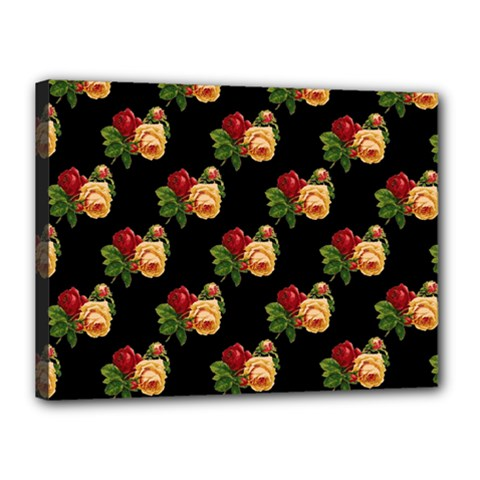 Vintage Roses Wallpaper Pattern Canvas 16  x 12