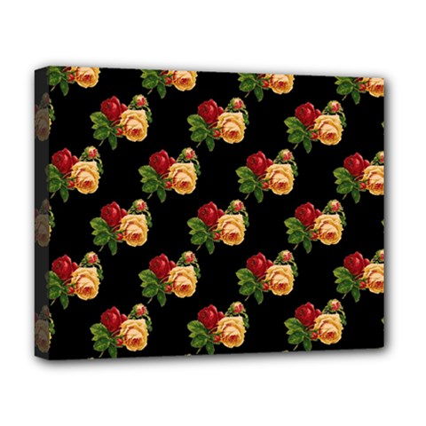 Vintage Roses Wallpaper Pattern Deluxe Canvas 20  X 16