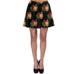 Vintage Roses Wallpaper Pattern Skater Skirt