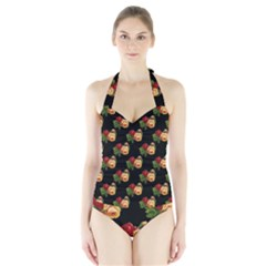 Vintage Roses Wallpaper Pattern Halter Swimsuit