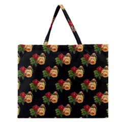 Vintage Roses Wallpaper Pattern Zipper Large Tote Bag