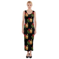 Vintage Roses Wallpaper Pattern Fitted Maxi Dress