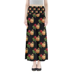 Vintage Roses Wallpaper Pattern Maxi Skirts
