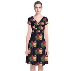 Vintage Roses Wallpaper Pattern Short Sleeve Front Wrap Dress