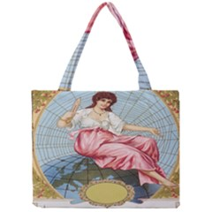 Vintage Art Collage Lady Fabrics Mini Tote Bag