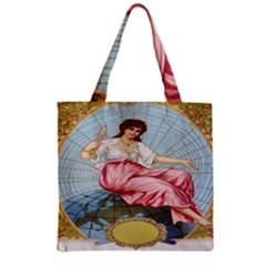 Vintage Art Collage Lady Fabrics Zipper Grocery Tote Bag