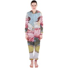 Vintage Art Collage Lady Fabrics Hooded Jumpsuit (Ladies)