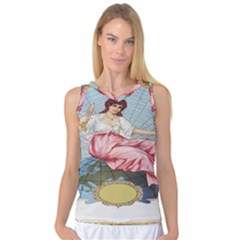 Vintage Art Collage Lady Fabrics Women s Basketball Tank Top