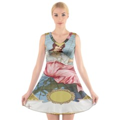 Vintage Art Collage Lady Fabrics V Neck Sleeveless Skater Dress