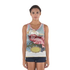 Vintage Art Collage Lady Fabrics Women s Sport Tank Top