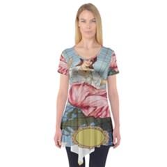 Vintage Art Collage Lady Fabrics Short Sleeve Tunic