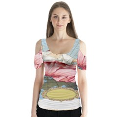 Vintage Art Collage Lady Fabrics Butterfly Sleeve Cutout Tee
