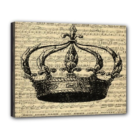 Vintage Music Sheet Crown Song Canvas 14  X 11
